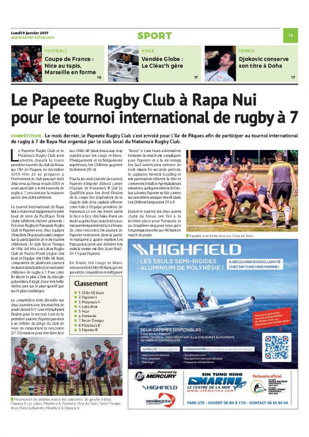 Le Papeete Rugby Club au tournoi international de Rapa Nui